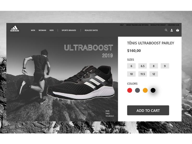 Adidas black and white minimalism ultraboost shoes product ui design adobe adobe xd adidas originals adidas