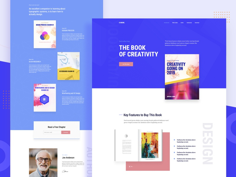 E-book Landing Page corporate uidesign uiux promotion one page modern minimal landing clean business publisher product marketing landing page ebook e-book brochure book author
