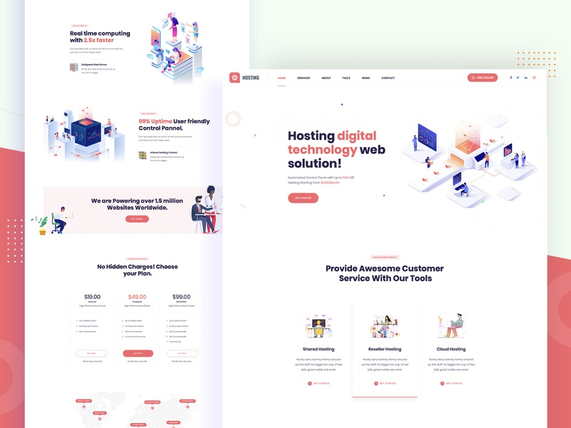 Isometric Web Hosting, Domain and WHMCS clean landing page user interface design web hosting template web hosting technology servers server isometric hosting template hosting host domain website domain dedicated server cloud server cloud hosting