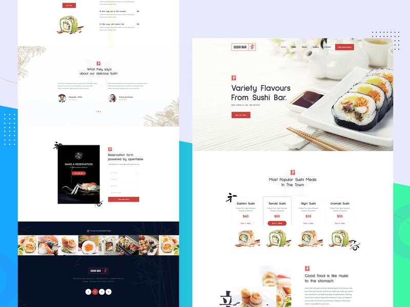 Sushi bar Home WordPress Template Design template design website templates website design clean corporate wordpress development wordpress design wordpress theme user interface design modern