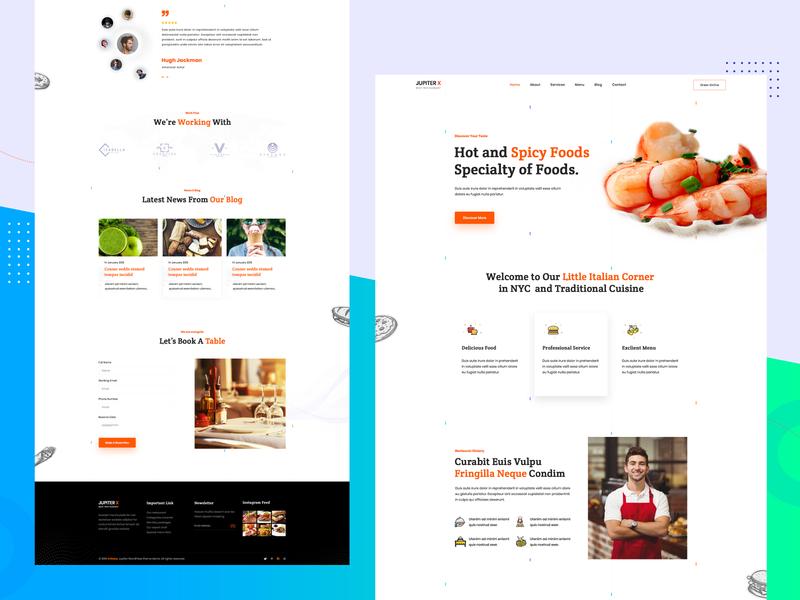 Restaurant Template Design restaurant branding restaurant website templates template design template clean user interface design landing page