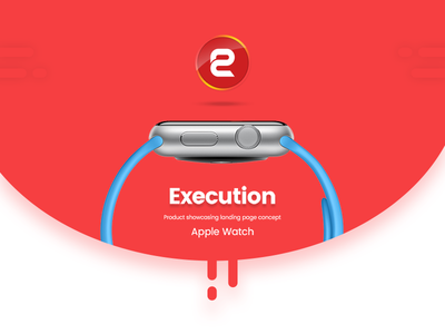 Apple Watch Product Showcasing Homepage Concept apple flat design red color homepage showcase psd design landing page user interface design apple watch