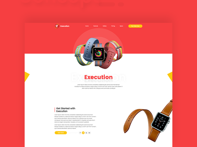 Apple Watch Product Showcasing Homepage Concept template psd apple apple watch flat color landing page uiux design user interface design