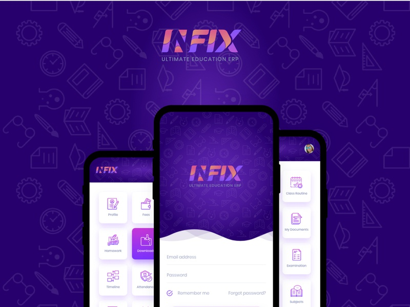 Infixedu Mobile App - Education Mangaement System design clean android app design school app mobile app design app user interface design