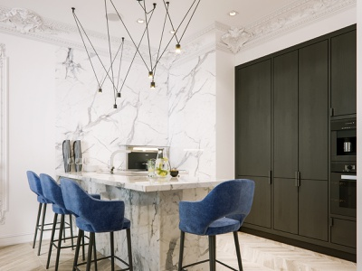 Modern classic marble white render kitchen interior design interior corona render classic architecture 3dsmax 3d