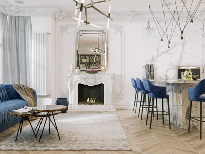 Modern classic white sofa render interior design interior fireplace corona render classic architecture 3dsmax 3d