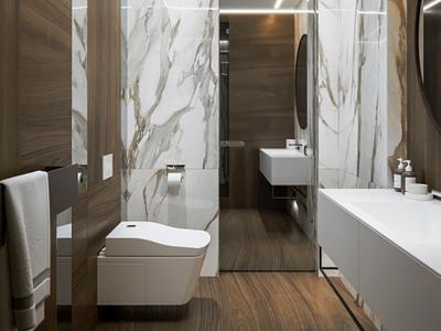 Marble bathroom 3dsmax white wood marble corona design 3d render vizualization interior bathroom