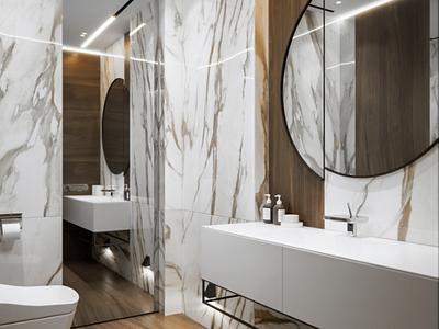 Marble bathroom visualization white marble bathroom 3dsmax 3d render design interior
