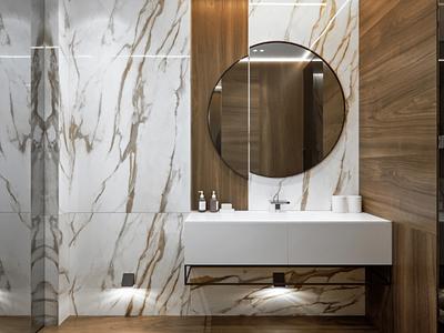 Marble bathroom corona render 3dsmax white marble 3d visualization design render interior