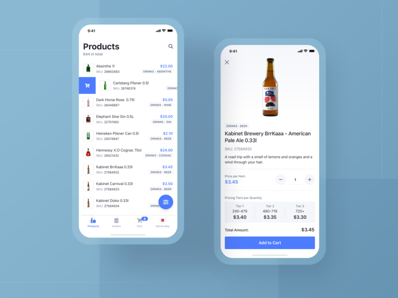 OrderEZ / Products filter blue and white blue minimal clean cart product management order management management distribution delivery product order ux ui design app mobile ios