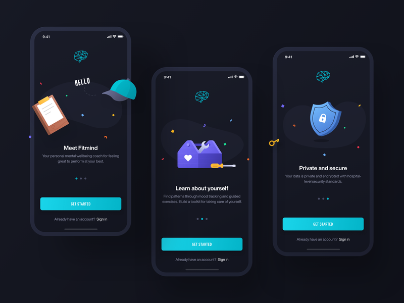 Fitmind / Onboarding clean colorful interface chatbot chat black green illustration signup login onboarding mind fit dark ux ui app mobile ios