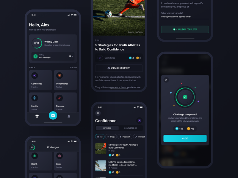 Fitmind / Challenges clean dark ux ui ios mobile app mind fit fitmind confetti goal challenge illustration green black chat chatbot interface colorful