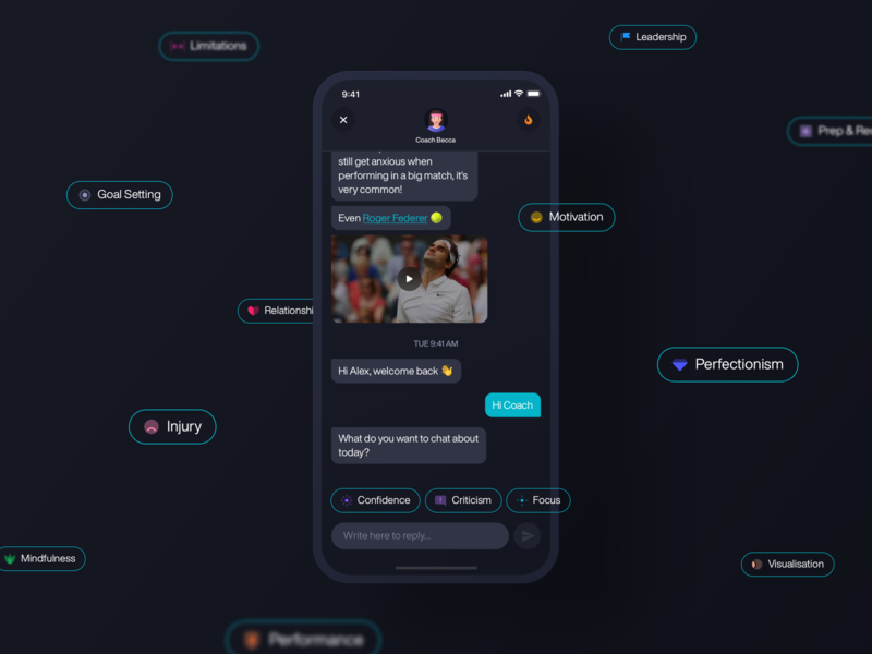 Fitmind / Chatbot clean dark ux ui ios mobile app mental fitness chatbots progress messages chatbot interface black green colorful avatar streak coins