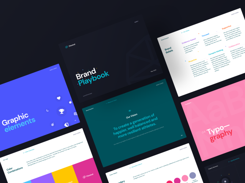 Fitmind / Brand Book green illustration branding chatbot colorful fitness ios app mobile ux ui dark guidelines book styleguide brand fitmind