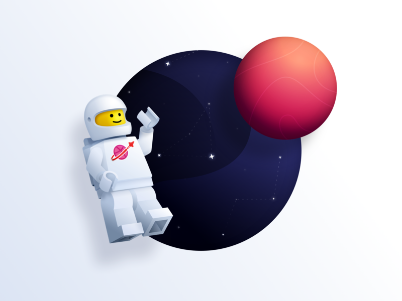 Sup Dribbble? minimal bricks minifigure lego constellation stars planet universe space astronaut spaceman vector illustration