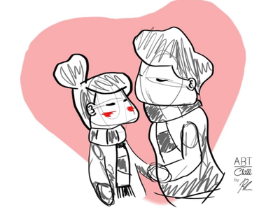 Kiss romantic illustration