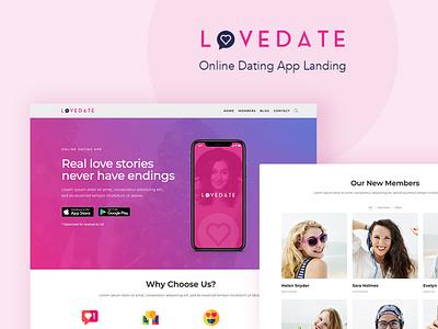 Love Date - WordPress Theme for App Dating Landing app landing page dating website gutenberg wordpress theme