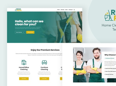 Resik - WordPress Theme for Cleaning Services ui cleaning services app landing page gutenberg wordpress theme