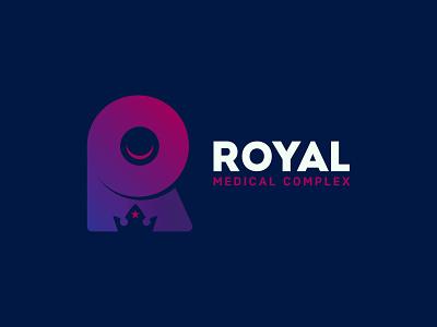Royal Medical Complex logo vector minimal design symbol lettermark icon mark monogram royalty medical crown branding logo