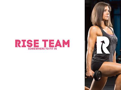 rise team logo sport bodybuilding youth muscles team negative space logo lettermark women women empowerment gym mark minimal monogram branding icon logo