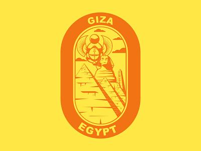 Sticker for Giza, Egypt vector branding minimal icon warmup sticker obelisk sphinx pyramids design illustraion flat egypt country hometown weekly challenge dribbbleweeklywarmup