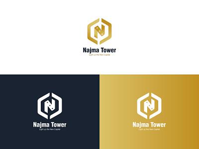 Najma Tower Logo option 2 minimal star icon design lettermark branding logo