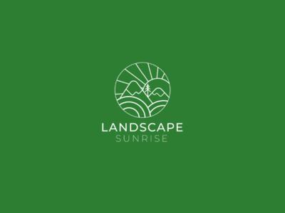Landscape sunrise logo design