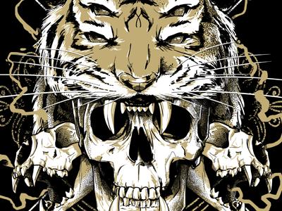 Tiger Warrior roar photoshop illustration mask warrior tiger