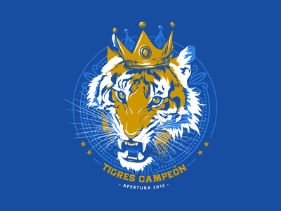 TIGRES CAMPEÓN illustration mexico champions liga mx uanl futbol tigers