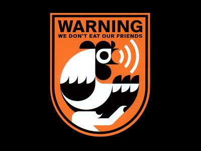 Warning VIII logomark logo illustration art vector illustration graphicdesign vector symbolism symbol sticker modernism modernart warning emblem artwork vegan govegan chicken stickerart vectorart illustration