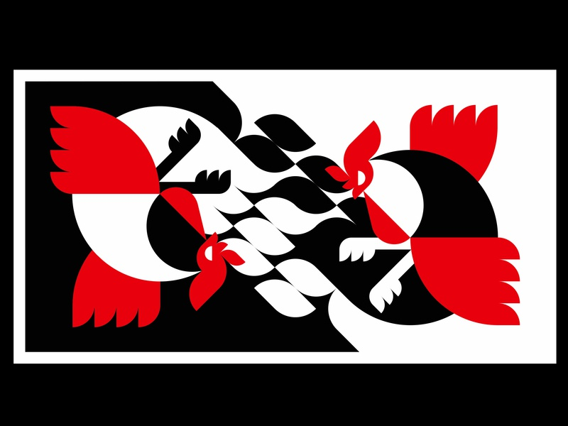 Farm Fighters minimal japanese japan icon marks brandmark animal art farm animal fighter rooster art vector mark sign illustration design logo symbol