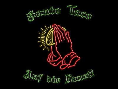 Santo Taco - Auf die Faust neon line branding tshirt identity mexico taco praying hands illustration