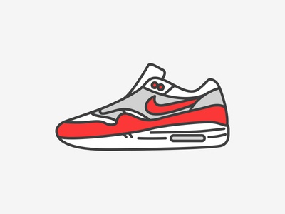 Nike Airmax 1 og illustration line icon sneaker airmax nike