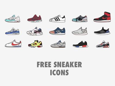 Free Sneaker Icons free download flat line icon shoes sneaker reebok puma adidas nike