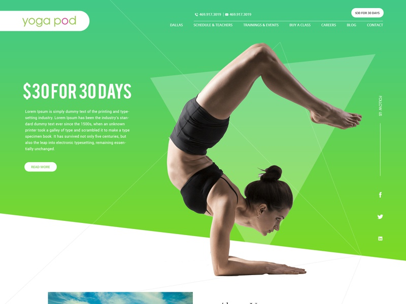 Yoga Pod ui ux website template yoga website header design header website design
