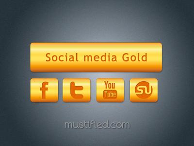 Social media gold icons shikeb mustified dribbble