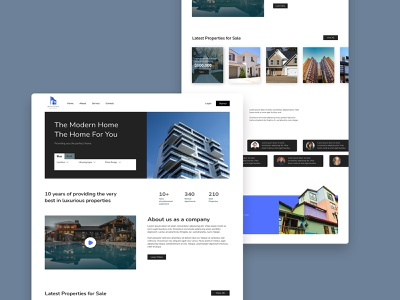 Real Estate Homepage ui logo illustration photoshop adobexd ux typography color palette design branding