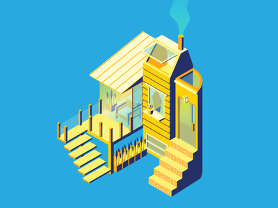 Chill House Isometric Illustration house illustration architecture illustration isometric art isometric design isometric illustration