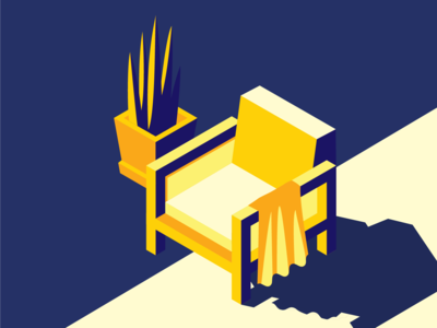 Relaxing Chair Isometric Illustration