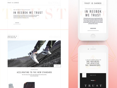 Reebok Innovation Collective —Early Exploration website design concept art direction