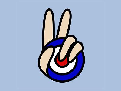 Peace Mod Target simplistic simplicity peace sign peace symbol gesture hand icon peace out flat design flat illustration bold lines bold color british britpop uk mod mod peace vector logo illustration