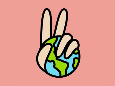 World Peace pink simple design simple logo simplicity simple t shirt design v sign planet earth eye catching eye candy peace sign peace colorful bold lines earth day earth world vector logo illustration