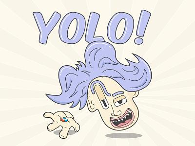 YOLO! purple creep pastel color pills drugs bold color bold lines vector illustration fomo yolo