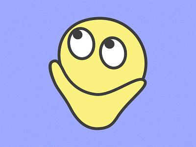 The Thinker hmmm vector illustration icon design thinking face yellow emoji bold lines vector illustration