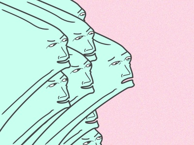 Getting Ahead creepy weird heads faces pink turquoise illustrator illustraion graphic vector art surrealism
