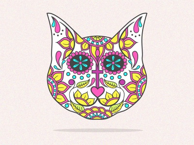 Sugar Skull Cat kitty cute colourful intricate dia de los muertos day of the dead spanish mexican calavera sugar skull cat design bold lines vector illustration