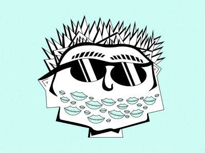 Dex hairstyle sunglasses black and white turquoise head illustrator surreal vector illustration