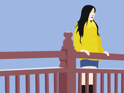 Bridge Lu winter coat yellow girl chinese adobe illustrator vector illustration bridge beijing design illustrator illustration