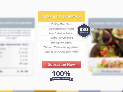 DishPop food subscribe guarantee web design landing page benefits subscription ui