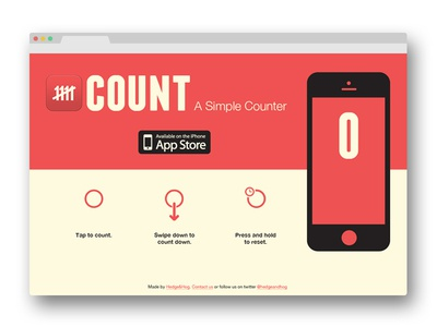Count Landing Page landing page mobile iphone app iphone ios flat counter web design